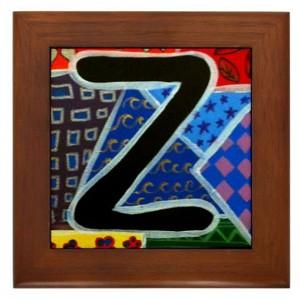 """Folk Art - Letter """"Z"""" - FRAMED TILE By Artist A.V.Aposte"""