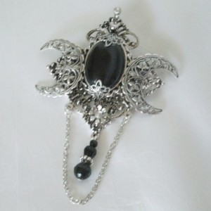 Black Onyx Triple Moon Brooch