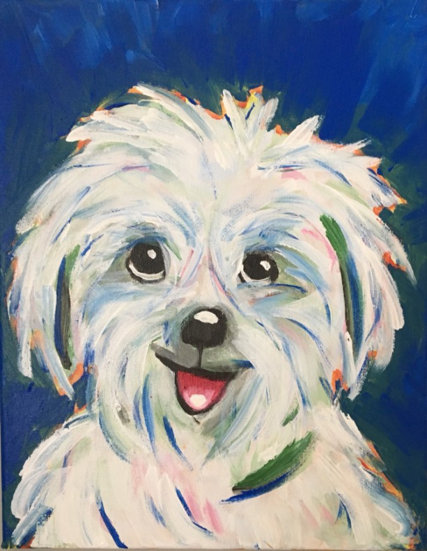 "Cutest Maltese ever! Original 11 x14""  painting on Stretched Canvas of dog.- Free Shipping"