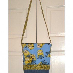 TOTE BAG in Blue and Yellow Minion Themed Fabric with Up-cycled Jean Accents