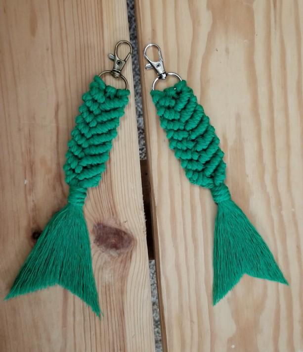 Macrame mermaid tail keychain