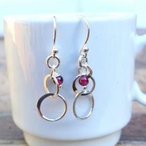 Sterling Silver and Garnet Dangle Earrings