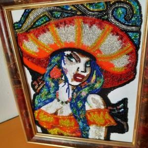 Spanish Beauty beaded framed art