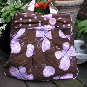 Butterfly kisses and ladybug hugs hobo style handbag with organizer