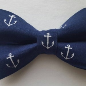 Navy blue anchor pet bow tie
