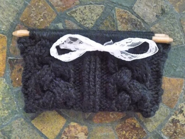 Black Cable Knit Clutch w/ White Lace Bow
