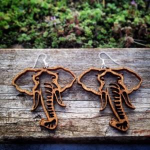 Large Wooden Elephant Head Outline Dangle Earrings - FREE US SHIPPING