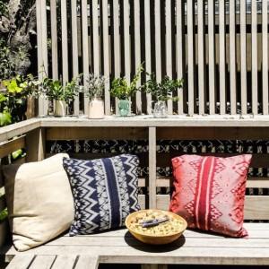 "Woven ""Pandawa Rouge""  Ikat Pillow, Handmade Balinese Decorative Pillow for modern interior decor"