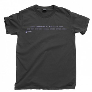 Commodore 64 Start Screen Men's T Shirt, C64 Boot Screen Ready 80s 8-Bit Home Computer Unisex Cotton Tee Shirt