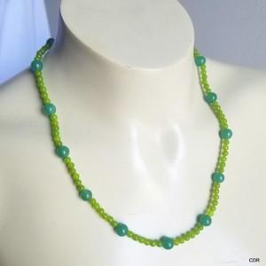 Peridot Adventurine Gemstone Bead Necklace Sterling Silver Findings Women Collar