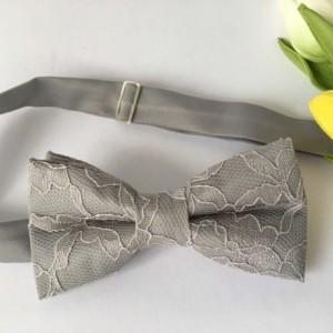 Silver Men's Bow Tie - Gray Lace Bow Tie - Grey Kid's Bow Tie- Platinum Baby Bow Tie