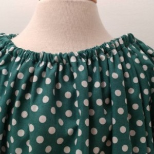 Green Polka Dot Peasant Dress