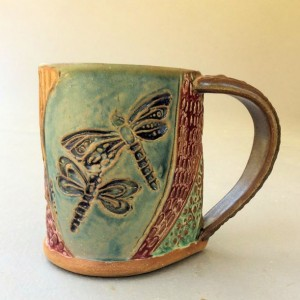 Dragonfly Pottery Mug Coffee Mug Hand Built Stoneware Microwave and Dishwasher Safe