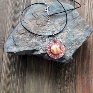 Starry Copper Metal Clay and Carnelian Pendant