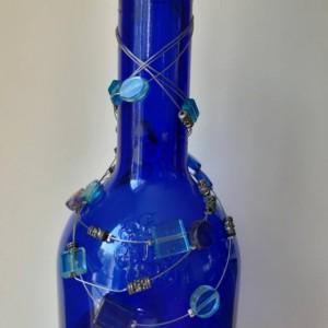 Upcycled Blue Glass Wine Bottle/Bottle/Upcycled Wine/Upcycled Wine Bottle/Wine Bottle/Centerpiece/Wine/Wine Decor/Mantle/Vase
