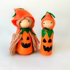 Halloween - Pumpkin gnome dolls - Pumpkin doll - Fall gnome - Halloween gift - Halloween desk decor - Halloween peg dolls - Peg people - toy