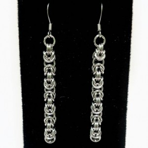 Silver Dangle ear wire earrings byzantine chainmaille
