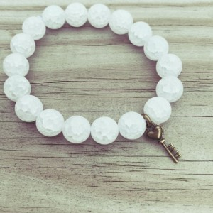 White Love Key Charm Bracelet