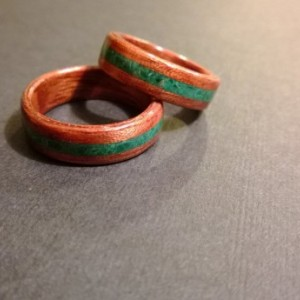 Hand Made set of 2 (Bentwood Method ) Bubinga Waterfall Inlayed Malachite Wooden Ring