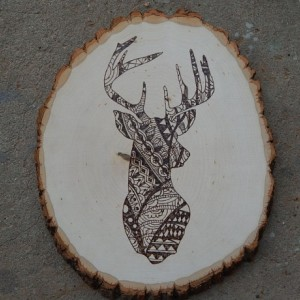 Rustic Wood Burned Deer Head- Patterned