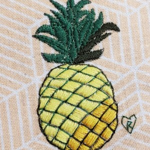 Pineapple Embroidery Hoop Art