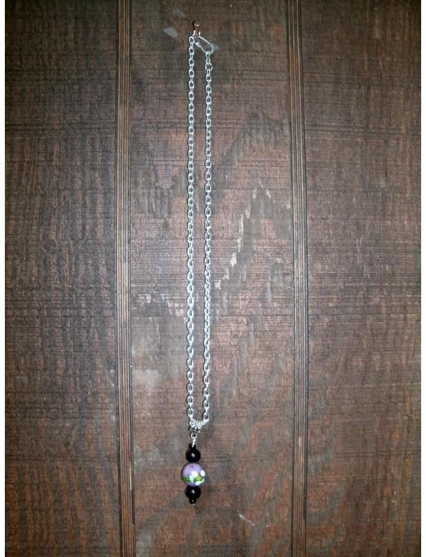 Purple Art Glass Necklace #182