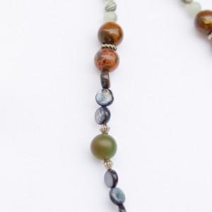 Fancy round Jasper,river shell,hematite,ceramic earth,leopard jasper,black & white onyx,sesame tibetan silver necklace/Under 20 dollar
