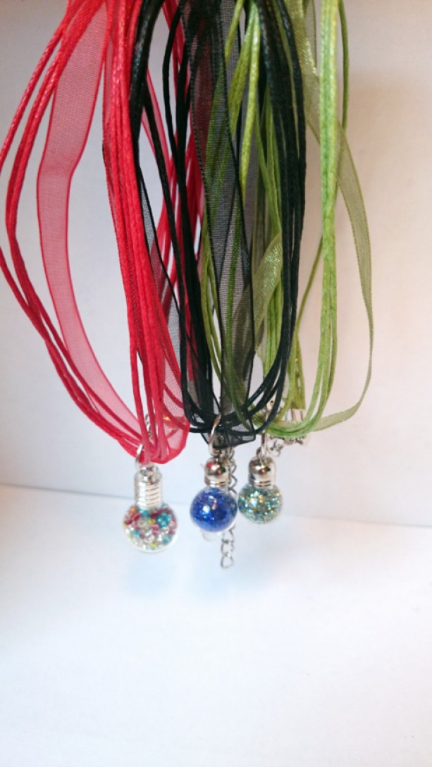 Fun Miniature Glass Vial Pendants, Glitter Pendant, Glittery Vial Pendant