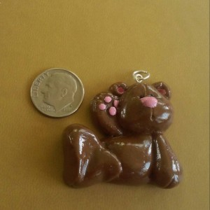 Teddy Bear Polymer Clay Necklace Charm, Teddy Bear Zipper Pull, Teddy Bear Zipper Charm