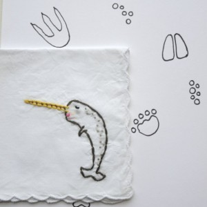 Embroidered Narwhal Sea Unicorn Original Hand Embroidery Narwhal Gift by wrenbirdarts on Etsy