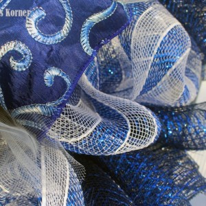 Deco Mesh Wreath, Navy Blue Wreath, Ribbon Wreath, Embroidered Ribbon, Blue Wreath, Tulle Wreath, Door Decor, Wall Decor
