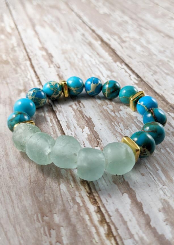 The Neptune | handmade beaded stretch bracelet, aqua bracelet, African sea glass, 24k gold, seafoam, blue sea sediment jasper, Gifts for Her