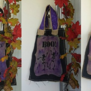 Purple Painted printed burlap trick or treat Halloween bags
