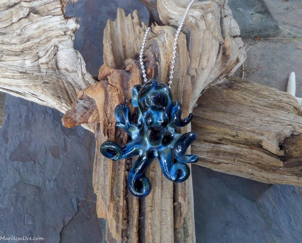 The Blue Lightning Collectible Wearable Boro Glass Octopus Necklace / Sculpture OOAK