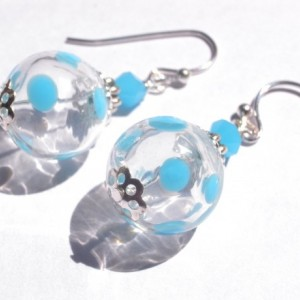 Earrings Aqua Color Hollow Glass Beads Handmade Hand Blown Summer Dot Dangle Drop Blue Jewelry Accessory Fish Hook Silver Plated