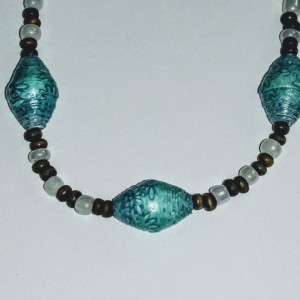 """Blue Coconut"" Paper Bead Necklace"