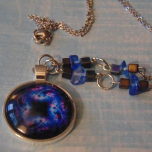 Pink Blue Black Celestial Glass Pendant Multi Shaped Blue Black Iridescent Bead Silver Toned Necklace
