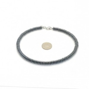 Boho Hematite Rondell Necklace in Stainless Steel