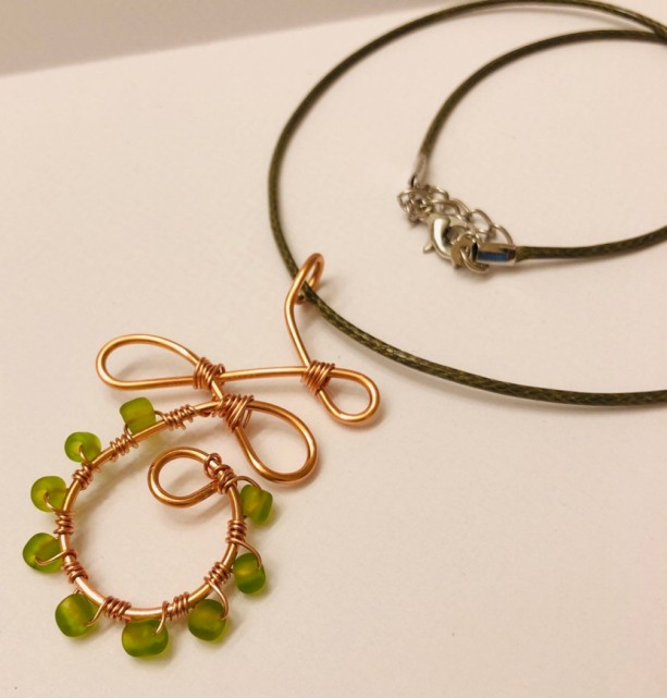 Copper and Green Beaded Pendant Necklace