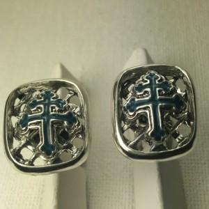 Cross of Lorraine sterling silver cufflinks