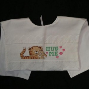 Hug Me Tiger Bib, Collar Cross Stitched