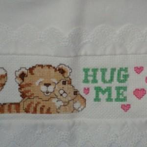 Hug Me Tiger Bib, Collar Cross Stitched