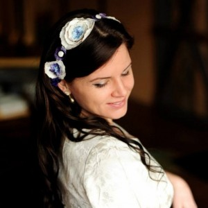 Renee - Purple Wedding Dress Sash/ Floral and Lace Sash/ Purple Flower Headband