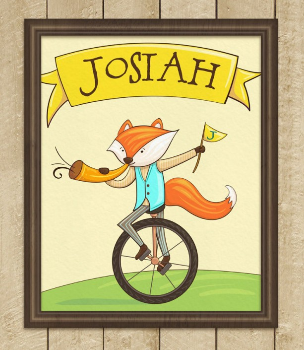 Personalized 8X10 Art Print, Fox on a Unicycle | aftcra