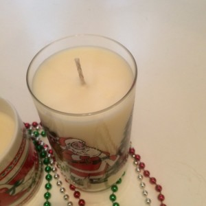 Tall Santa Claus Glass Soy Wax Candle- Christmas Cookie Scented