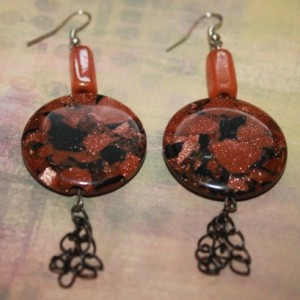 Orange Black Sparkle Disc Earrings