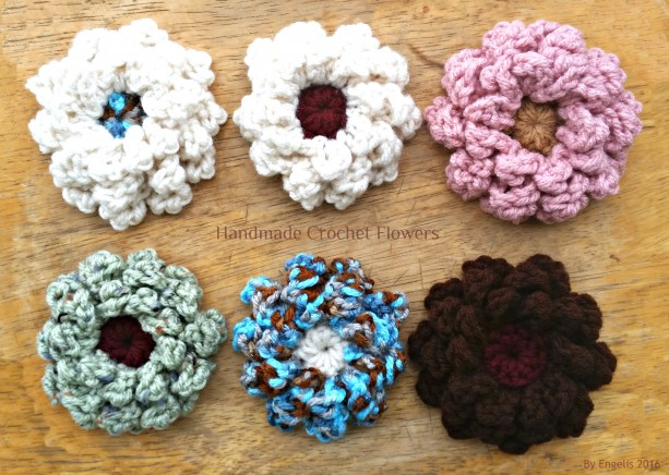 Handmade crochet flower applique, Two Flowers Crochet Handmade
