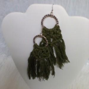 Kelly Green Macrame  Hoop Earrings