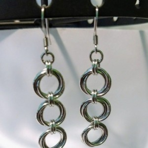 Dangle Earrings Tri-Mobius Chainmaille Jewelry