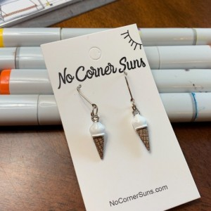 Vanilla Ice Cream Cone Earrings, after Wayne Thiebaud! Free Shipping